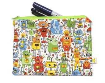 Robot pencil case, fun zipper pouch, back to school