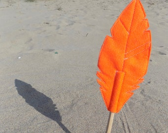 Orange Felt Quill FAUNA Pencil Topper, Orange Feather, Vegan