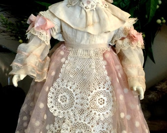 """Hand Painted Vintage Altered Bisque Doll """"Christine"""" One Of A Kind!"""