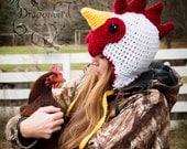 Chicken Hat, Rooster Hat, Adult Hat, Halloween, Men's Hat, Snowboarding Hat, Crazy Chicken Lady Hat, Barred Rock Hat, Rhode Island White Hat