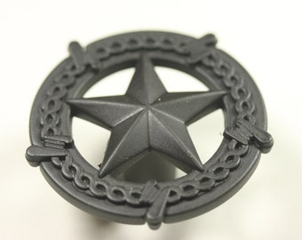 Western Style Star With Barbed Wire Knob - Matte Black