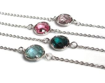 Dainty bracelet, emerald green bracelet, pink rose bracelet, everyday bracelet, gift idea, silver crystal bracelet uk, delicate jewelry