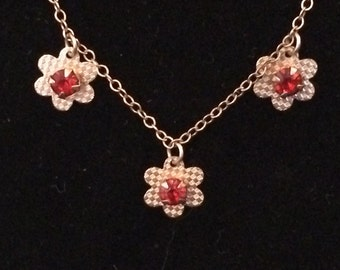 Vintage Gold Filled Flower Necklace with Red Stones