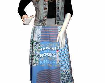 Knit T-Skirt (L) Love of Books, Eco-Friendly tshirt skirts, Repurposed T-Shirt Skirt, Upcycled Skirt