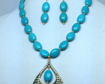 Blue Green Gold Magnesite Gemstone Necklace and Earrings Set
