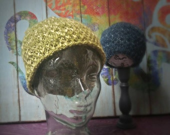 Hand Knit Textured Beanie in Lime
