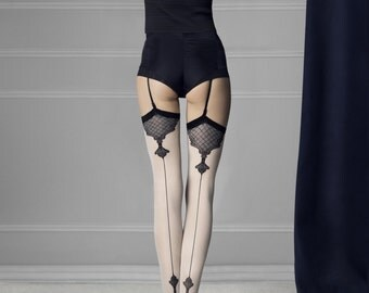 Burlesque Style Contrast Seam, Heel and Feature Ankle Design Stockings