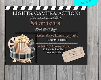 Movie Birthday Invitation, Movie night invite, retro movie invite, movie party invitation DIGITAL FILE also available professionally printed
