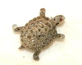 Vintage Sterling Silver & Marcasite Turtle Brooch Pin