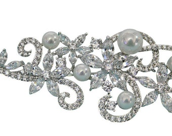 Bridal Brooch Silver Tone Rhodium Rhinestone A+++ Zircon Pearl Wedding Brooch Bridesmaid Brooch