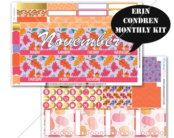 Pink AUTUMN Stickers MONTHLY Planner Kit, for Erin Condren Stickers, Life Planner Sticker, Monthly Sticker Kit, December planner #SQ00630-Ec