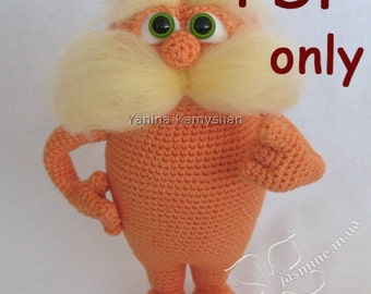 Funny monster with moustache, amigurumi crochet pattern