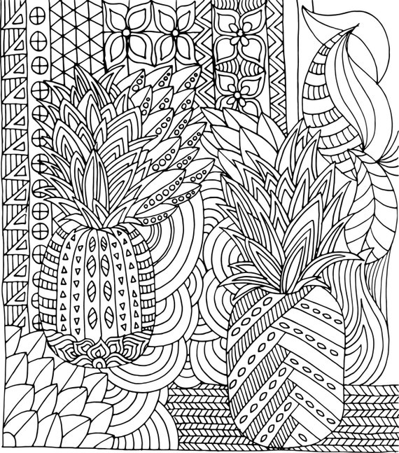 Printable instant download colouring page tropical Pineapples