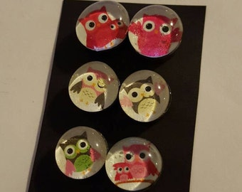 Set of 6 Strong, Glass magnets, Owl theme Magnets, bird, owls refrigerator, office, or kitchen decor,  fridge magnets, colorful, handmade