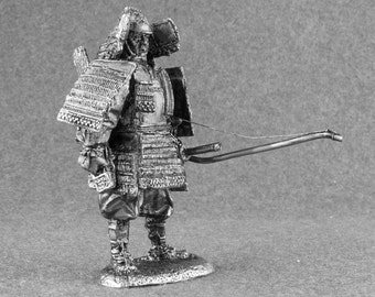 Handmade Toys Soldier Samurai with Bow 1/32 Scale Medieval Japan Handmade 54mm Tin Miniature Collection Action Figurines