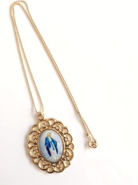 Virgin Mary Necklace Miraculous Medal Necklace Virgen De La