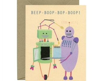 """Robots Birthday Card - """"Beep-Boop-Bop-Boop!"""" - ID: BIR090"""