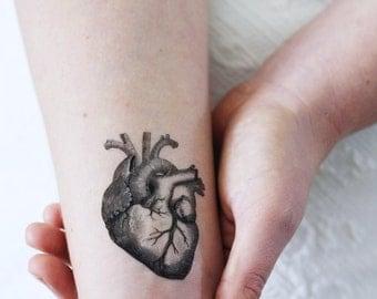 Human heart temporary tattoo / vintage temporary tattoo / heart temporary tattoo / love temporary tattoo / lovers gift idea / vintage heart