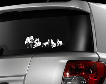 Wolf pack, car decal, wolves, laptop decal, stick family decal, wolf stickers, werewolf decals, skins, wolf decals, timber wolf, wolf art