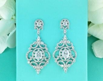 CZ earrings, Chandelier cubic zirconia CZ jewelry, wedding earrings, bridal jewelry, wedding earrings, Large Dangle Earrings 286443441