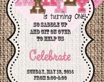 4x6 or 5x7 PERSONALIZED Digital Cowgirl First Birthday Bandana Invitation