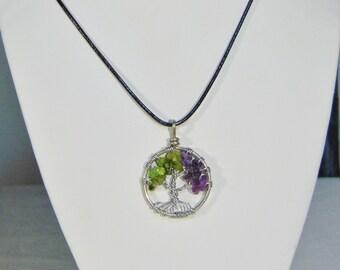 Tree of Life Pendant Peridot and Amethyst Crystal Necklace (medium)