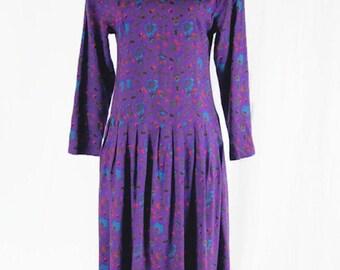 Vintage Ulterior Motives Dress Floral Print Peter Pan Collar Boho Romantic