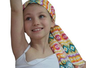 Ava Joy Children's Pre-Tied Head Scarf, Girl's Cancer Headwear, Chemo Head Cover, Alopecia Hat, Head Wrap,  Hair Loss - Yellow Aztec