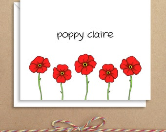 Poppy Note Cards - Floral Note Cards - Folded Note Cards - Personalized Stationery - Thank You Notes - Illustrated Note Cards