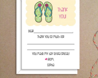 Fill-in Thank You Notes - Flip Flops Flat Notes - Childrens Thank You Cards- Illustrated Note Cards