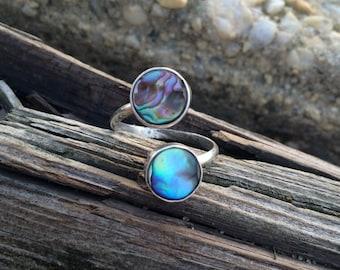 Custom Abalone Spiral Adjustable Sterling Silver Ring