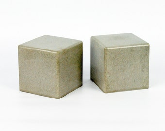 Modern Concrete Bookends : Cube (Set of 2)