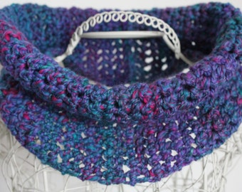Merino Wool Silk Cowl Bejewelled Handspun Wool Cowl Jewel Tones