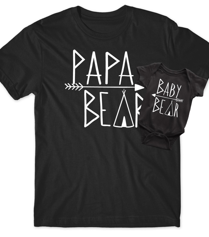 Papa Bear Baby Bear Matching: Fathers Day Gift Papa Bear Baby Bear Matching Shirts Set