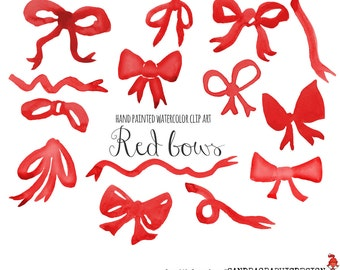 Red bow clip art – Etsy