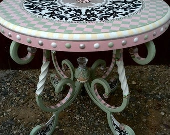 Custom Hand Painted Tables Made To Order ! Any Size Any Shape Your Colors !  This
