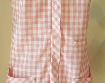 Lovely 1950s Town N Terrace A Line Pink Gingham Cotton Day Dress Small Size