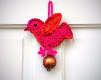 Christmas Home Accents Unique Handmade Crochet Red Pink Bird with Christmas Ball Ornament Gifts Under 25