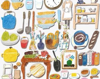 56 Crayon Cafe Coffee Digital Download Scrapbooking Clip Art c20