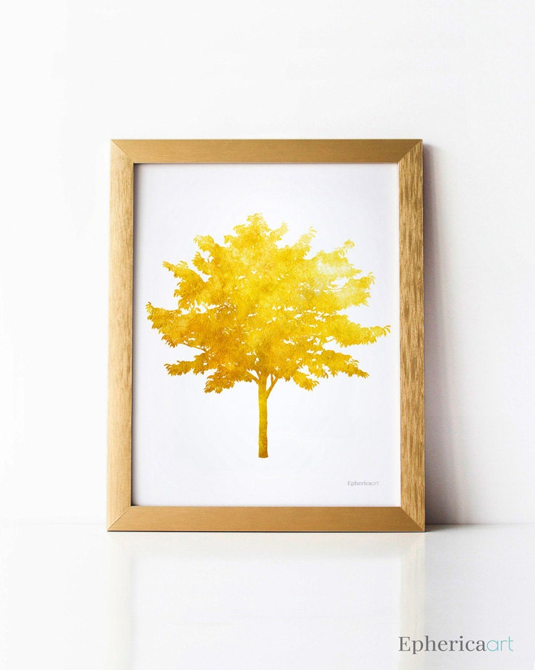 Mustard Yellow Tree Wall Decor Tree Wall Art Decor Fall Art