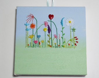 Mini Canvas with Embroidered Garden and Button Flowers
