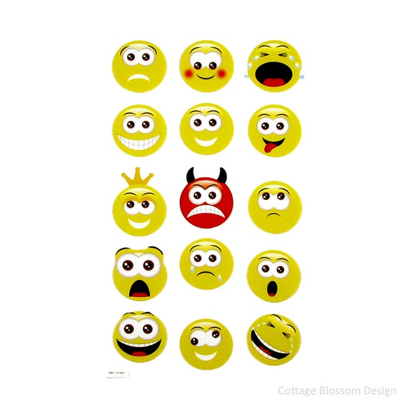 Cute Emoji Faces Printed Planner Stickers