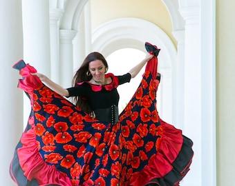 Gypsy dance skirt 'Poppy field'. Gypsy dress. Dance wear. Flamenco skirt. Gypsy skirt. Bohemian. Festival skirt.