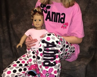 Personalized Matching Girl and Doll Pajamas/Lounge Sets