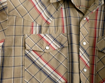 Size XL country style plaid shirt