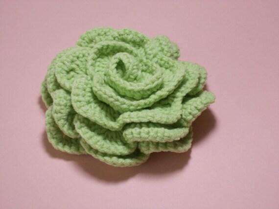 Crochet brooch Green lapel pin Crochet brooch pin crochet