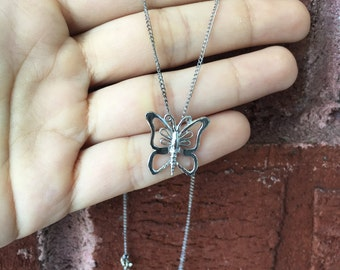 Kids Simple Butterfly Pendant Charm Silver Chain Necklace