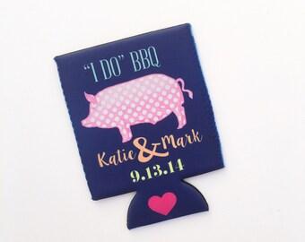 I Do BBQ Pink Polka Dot Pig Wedding/Bacherlorette Party Drink Hugger/Can Beverage Insulator