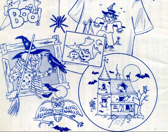 Vintage halloween hand embroidery iron on transfers