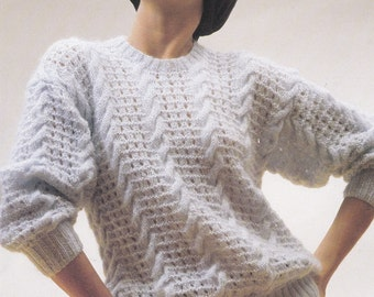 Womens cable sweater PDF vintage knitting pattern lace and cable pattern drop shoulder INSTANT download pattern only 30 - 40 inches